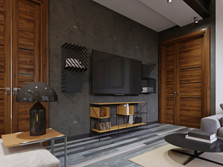 Contemporary living room with a TV unit with shelves, on a concrete gray wall.