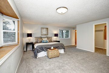 Master bedroom with lots of space, grey carpet floor