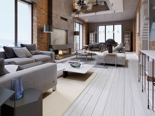 Great design of apartments in a loft style with a brick wall and upholstered furniture and large panoramic windows.