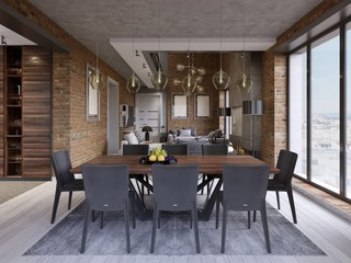 Modern dining room with dining table and eight chairs in a loft-style apartment with kitchen and living room.