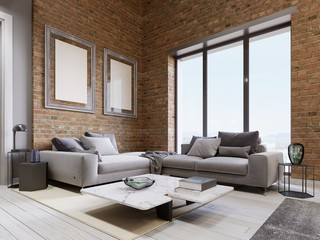 modern sofa with panoramic windows in loft living room.