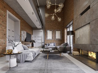 Studio flat with brick wall and fireplace and modern furniture.