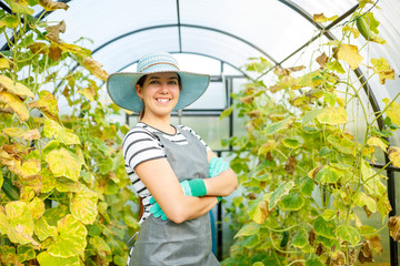 Photo of happy woman gardener in hat at greenhouse with cucumbers de211db097d0