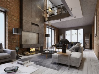 White and gray sofa and leather armchair with a magazine table and a large designer fireplace in a loft-style apartment with a living room and brick walls.