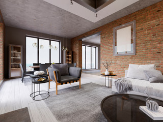 Modern living room with dining area and dining table in a loft-style apartment.