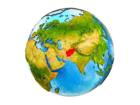 Afghanistan on 3D model of Earth with country borders and water in oceans. 3D illustration isolated on white background.