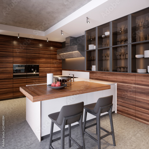 A Kitchen With Island Two Chairs In Modern The Style Of Koteemporri And Furniture