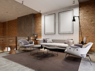 Lounge area in the apartment with a sofa, armchair and side tables. Empty picture on decorative concrete wall.