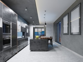 Luxurious kitchen with stainless steel appliances in contemporary mansion.
