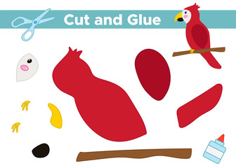 Education paper game for preschool kids. Create the applique cute parrot. Cut and glue. Tropical birds. Vector illustration.