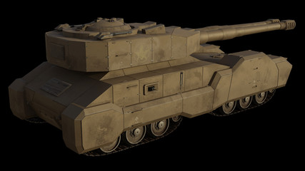 Future Super-Heavy Tank Isolated on Black, Side View - science fiction illustration