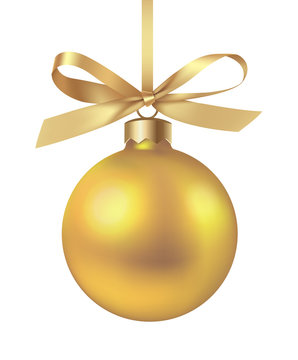 Decorative yellow Christmas ball with gold bow isolated on white. New year decoration. Vector illustration