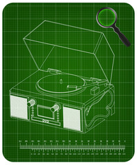 Record player on a green background