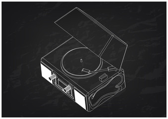 Record player on a black background