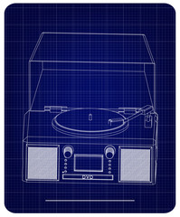 Record player on a blue background