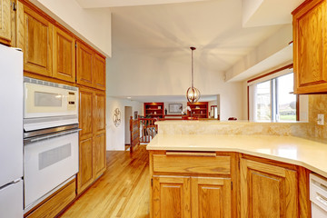 Open kitchen interior with dark wood cebinets and wood floor