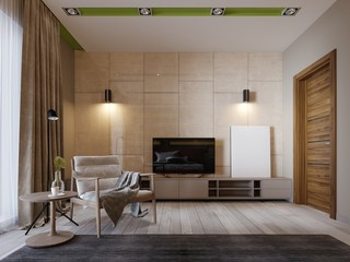 Modern TV stand with shelves and a TV over on the wall of glossy panenley beige color. Bedroom with an armchair and TV stand.