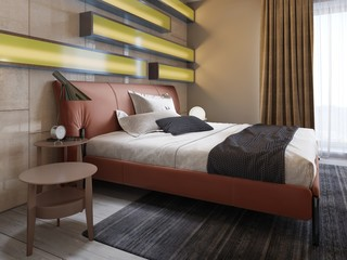 Modern leather bed with side tables with lamps in the contemporary bedroom. Illuminated shelves, glossy wall panels, leather headboard.