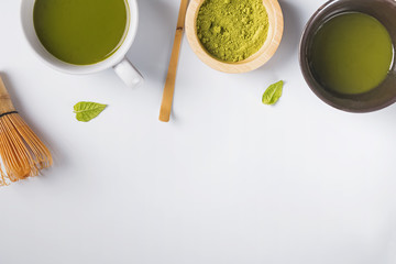 Wall Mural - Ingredients and tools for making green tea matcha