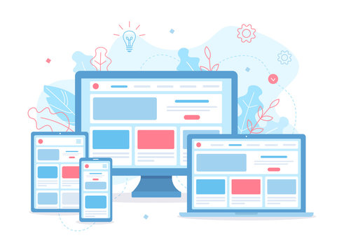 Landing page is open on different devices: laptop, computer, tablet and smartphone. Responsive web design. Flat vector illustration.