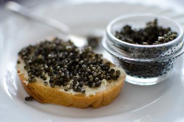 cake with with black caviar