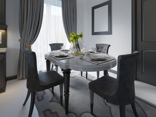 Luxury black dining room with dark furniture, white marble floor and day light