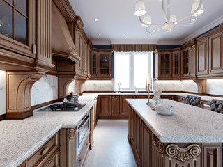 Luxury kitchen with tile floor, stained cabinets and marble counter top.