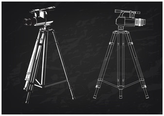 3d model tripod and camcorder on a black