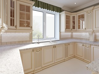 Beige kitchen in classical style