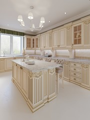 Kitchen island in a luxurious classic style kitchen.