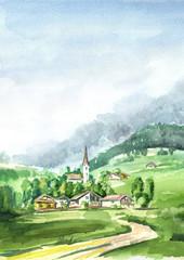 Alpine landscape. Watercolor hand drawn vertical illustration