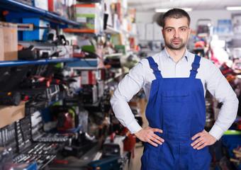 Satisfied customer in tools store