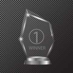 Glass shining trophy Isolated on black transparent background. Glass Trophy Award illustration,