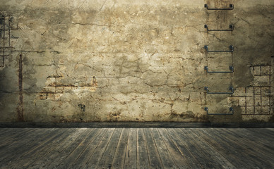 Old room with damaged concrete wall and wooden planks floor. 3d rendering