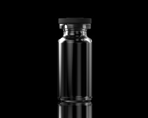 Isolated transparent empty glass vial with rubber cap on black background with reflections. 3D illustration