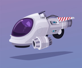 Spaceship in outer space. Cartoon vector illustration.