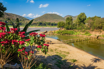High angle view of Bamboo Bridge across Mekong river, country site, Luang Prabang, Laos