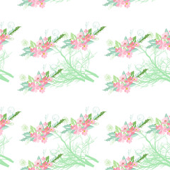 Seamless pattern with summer flowers and leaves on white background. Herbal pattern in light colors for the design of clothes.