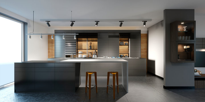 beautiful kitchen with dark furniture of an new loft.