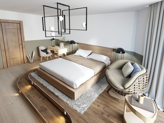 Wooden loft style bedroom with wooden podium for stand bed. Eco design scheme is bright and minimalistic with rotang chair and worktop table.