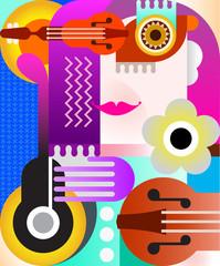 Door stickers Abstract Art Abstract Portrait
