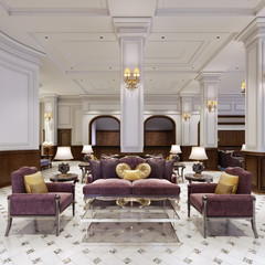 Luxurious classical furniture in art deco style, soft purple sofa and armchairs with black metal legs and a glass coffee table in a classic interior.