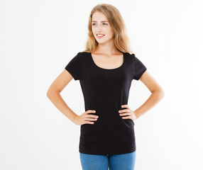 white woman,girl in black t shirt isolated on white background,template,blank