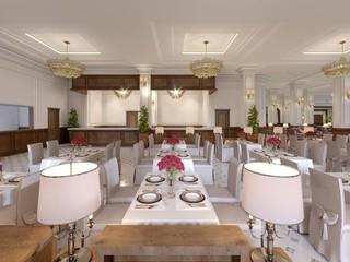 Classic Interior of a hotel restaurant.