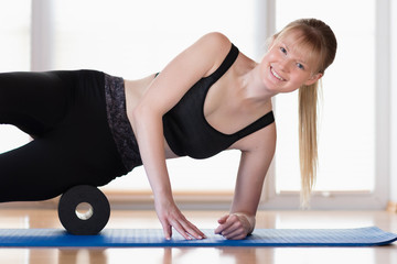 Girl with fascia roll