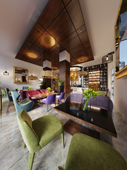 Lounge library with modern style bar.
