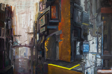 A dark futuristic cityscape with a river below and an industrial structures. There are a lot of wires, pipes and concrete around.  An oil painting on canvas.