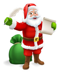 Santa Claus checking Christmas naughty or nice gift list or writing letter to child cartoon scene