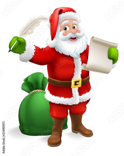 Santa Claus Checking Christmas Naughty Or Nice Gift List Or Writing