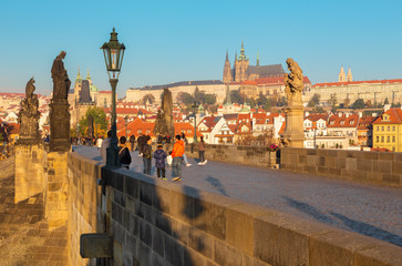 Fotobehang Praag Prague - The panorama of Charles Bridge, Castle and Cathedral withe the Vltava river.